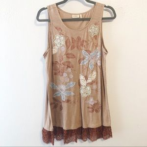 Logo lace lined tunic floral tank size large